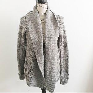 Sweaters - Grey Chunky Knit Cardigan